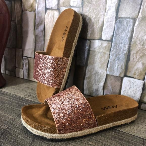 5def546ac Shoes | Rose Gold Espadrilles Platform Glitter Slides | Poshmark